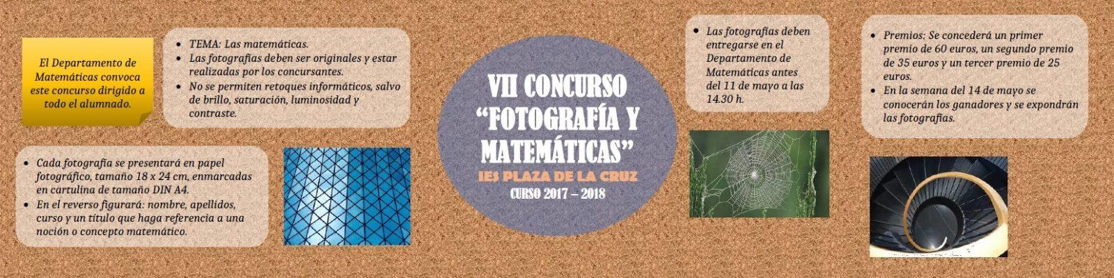 """VII Concurso """"Fotografía y matemáticas"""" para ALUMNADO, PROFESORADO Y PERSONAL DEL CENTRO"""